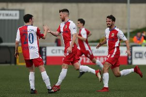 Niall Quinn celebrates his goal and Linfield's  first In Saturday's game.