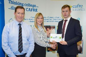Pictured: (left to right) Thomas Barnett, Retail Manager at Fane Valley Stores, Amanda McCrea - HR Officer at Fane Valley Group with award recipient Josh Fegan.Photo by Aaron McCracken