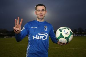 Dungannon Swifts' Daniel Hughes celebrates his hat-trick.'Photograph by INPHO/Brian Little