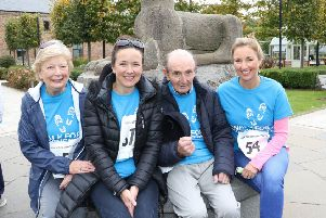 Guest Walker Claire McCollum with Mum Margaret, Sister Kelly and Dad Sam supporting the 2018 Parkinsons Walk in Antrim Castle Gardens.