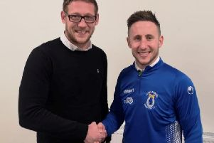 Dungannon Swifts manager Kris Lindsay welcomes new signing Michael Carville to the club.