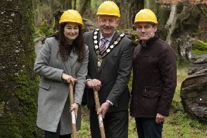 Julie McCann, Sport NI; Chair of Mid Ulster District Council, Councillor Sean McPeak, and Ciaran McLaughlin, DAERA on site as work starts to develop Knockmany Forest, a few miles outside Augher.