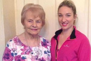 Dungannon woman Rebecca Irwin who is taking on a double marathon challenge for two charities in the next twelve months pictured with her grandmother, Muriel.