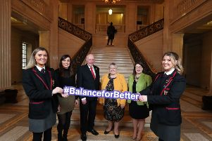 Pictured with the Assembly Speaker Robin Newton MLA are Chair of the Northern Ireland Assembly Women's Caucus, Megan Fearon MLA, Deputy Chair of the Northern Ireland Assembly Women's Caucus, Kellie Armstrong MLA, Northern Ireland Assembly Women's Caucus Member Rosemary Barton MLA and young representatives from Integrated College Dungannon.