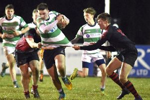 Omagh/Dungannon's Frazer Caldwell' during the Nutty Krust game against Rainey OB