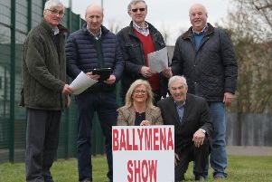 The 2019 Ballymena Show will be held at it's new home - Ballymena Livestock Mart - on Saturday,  June 15. Pictured are - David Perry, Robert Dick (Vice Chairman), Randal Hayes and Joe Adams (Chairman), Front row from left, Pauline Blaney (Show Secretary) and Sam Smyth.