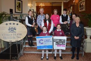 Pictured are back Zoe Somerville Ulster-Scots Pipe Band, Arnie Maxwell Roughan Silver Band, Iris Clarke Cancer Research, Jay Somerville Ulster-Scots Pipe Band. Middle row, Sarah Stockdale Roughan Silver Band, Helen Irvine. Front: Courtney Thompson, Lily Maxwell Augher Central PS and Patricia O'Doherty Corick House Hotel and Spa.