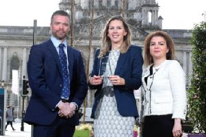 Launching the 2019 awards are Peter Girvan (from 2018 winner The Lava Group); Louise Turley (NI Chamber) and Dr Rosita Zolnourian (from 2018 winner Fortress Diagnostics).