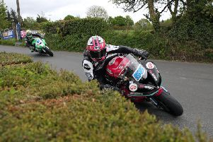 Adam McLean leads Derek McGee during Supersport practice at the KDM Hire Cookstown 100 on Friday. Picture: Stephen Davison/Pacemaker Press.