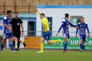 Paul McElroy celebrates his goal for Dungannon Swifts against Newry City AFC. Pic by Pacemaker.