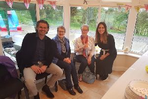 Raul and his wife Rachel meet Edna and Lorna from Donaghmore Church