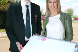 Connor Hamilton who has secured a Career Encode apprenticeship with CDE Global (Cookstown) ; and Camilla Long, Career Encode facilitator.