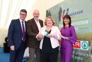 Pictured are (l-r) Neal Kelly (Henderson Fresh Foods Director) John Hood (Invest NI) Lorna Robinson (Cloughbane Farm Foods) and Fresh innovation Awards host, Jo Scott.