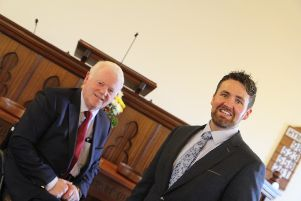 Rev. Robert Maxwell, minister of Dungannon Independent Methodist Church pictured with the new Assistant Pastor, Samuel Patterson