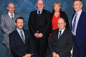 Moy Park Dungannon team members Alistair Heron, Kenneth Cardwell, Maggie McKeown, David Wilson, Robin Adair and Nigel McCreedy are pictured at the Merchant Hotel, Belfast following a special award ceremony in recognition of their long service.