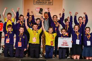 St Mary's Primary School pictured celebrating after winning a award during the Junior Entrepreneur Programme All Ireland Showcase Day at the RDS in Dublin.