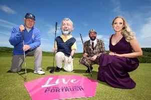Getting ready for Live at The 148th Open, a seven day programme of entertainment organised by Causeway Coast and Glens Borough Council to celebrate the return of The Open are John McNally from Portrush Heritage Group, local actor Andy Porter, Northern Ireland Opera singer Maria McGrann along with a specially-commissioned 'big head' character of golfer Darren Clarke. PICTURE KEVIN MCAULEY/MCAULEY MULTIMEDIA