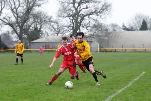 Tez Morton, seen here in action for Racing Club Warwick, was on target for Chadwick End in their win over Wroxton.