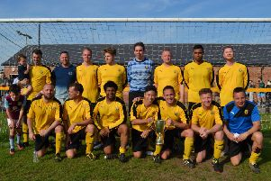 Leamington FC Veterans show off the Division Three Cup after overcoming Dynamo Leamington, pictured below. Pictures submitted