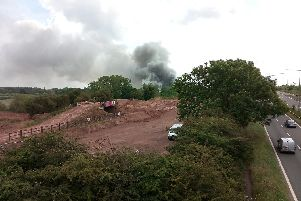 The scene of the fire - the A45 is just on the right of this image