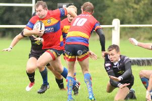 Leamington hooker Nick Maxwell on the attack at Wolverhampton. Picture: Gina Ruyssevelt