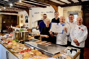 The team of catering staff involved: Back - Dan Rye, Chris Long, Nick Doughty,''Front ' Gwen Leader, Paul Doughty and Tony Unitt.''Photo by Gill Fletcher.