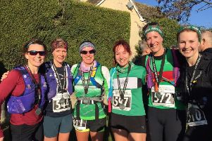 Spa Striders and Kenilworth Runners' female contingent at the Broadway Half Marathon, including ladies' race winner Claire Murphy, far left.