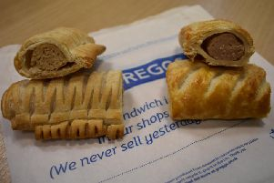 Left: The vegan sausage roll with what look like pastry molars protruding from its side. Right: The golden-brown 'real meat' roll that could not beat the vegan offering.