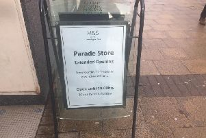 The sign outside M&S in the Parade, Leamington.