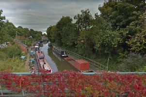 The Gran Union Canal from Budbrooke Road in Warwick. Image by Google Street View.