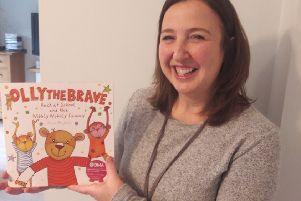 Rachel Ollerenshaw with the third Olly The Brave book.
