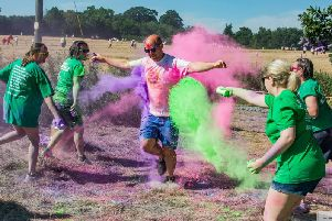 Warwickshire's debut Macmillan Colour Fun Run will look a little like this