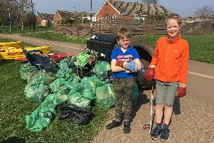 Some of the young volunteers who took part in the clean up in Warwick. Photo by 2nd Warwick Sea Scouts.