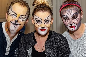 John Booth, Nikki Claire Cross and Vicky Holding prepare for Cats at the Spa Centre in Leamington