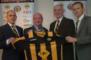 Paul Holleran is unveiled as Leamington manager alongside Lee Williams, chairman Jim Scott and Richard Beale.