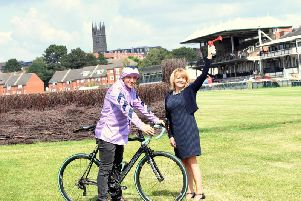 Andre Klein, General Manager at Warwick Racecourse with Monica Fogarty, chief'executive of Warwickshire County Council on the racecourse. Photo supplied.