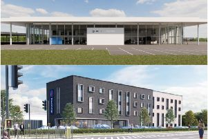 How the car dealership and hotel could look like. Images by Opus Land LLP and Dealership Developments Limited.