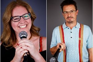 Anne Docherty  and Mark Hinds are the creative minds behind Comedy at Work.'Photos by David Fawbert Photography.