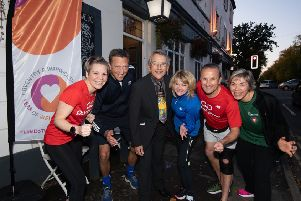 From left to right, Rebecca Wass (GoodGym Trainer), Mark Ryder (Director Communities, WCC), Cllr Les Caborn, Monica Fogarty (Chief Executive, WCC), Simon Hall (WMCA), Jane Coates (Year of Wellbeing), Nicki Curwood (Warwick District Council)