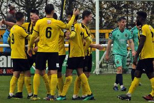 Brakes players congratulate Connor Taylor after he opened the scoring against Spennymoor.