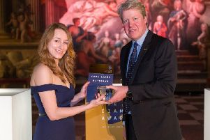 Cora-Laine was presented with The Legacy Award by Earl Spencer, Princess Dianas brother. Photo by The Diana Award