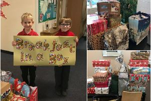 Children at Harbury Primary School donated 56 Breakfast in a box shoe boxes to the appeal. Bottom left and right shows some of the donations received at the Southam Christmas lights switch-on. Photo supplied.