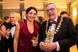 Lauren Gregory with the Mayor of Leamington Bill Gifford at the fundraising gala at the Pump Rooms in Leamington. Photo by Sarah Miners