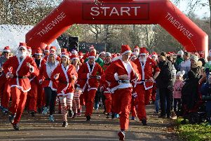 The start of the Santa Dash in Leamington. Photo by Allan Jennings