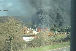 The blaze at Whites of Coventry in London Road, Ryton. Photo courtesy of Kenilworth Fire Station.