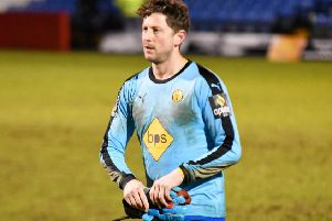Callum Gittings took over between the sticks after Jake Weaver's early red card. Picture: Darren Clay (dclivephotography.com, in conjunction with worldwide.awaydays on Instagram)