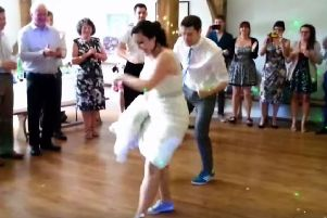 Ben Barnicoat and his blushing bride Jasmin performing their breakdancing routine at their wedding   PHOTO: YouTube
