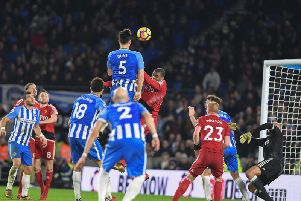 Lewis Dunk goes close with a header during Brighton's 1-0 win against Watford. Picture by Phil Westlake (PW Sporting Photography)