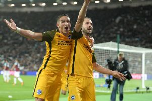 Anthony Knockaert and Glenn Murray celebrate a goal in Albion's 3-0 win at West Ham. Picture by Phil Westlake (PW Sporting Photography)