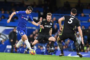 Dale Stephens and Lewis Dunk close down Chelsea striker Alvaro Morata. Picture by Phil Westlake (PW Sporting Photography)